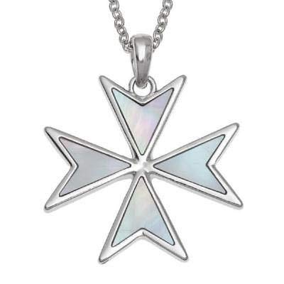 'Order of St. John' Maltese Cross Necklace Inlaid with Mother of Pearl or Abalone Shell Christian Faith Religious Necklace Jewellery Gift Box