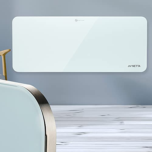 NETTA Electric Panel Heater, Slimline Glass Heater, Wall Mounted Electric Heater Or Free Standing, With Thermostat, Eco Friendly Mode,2000W White.