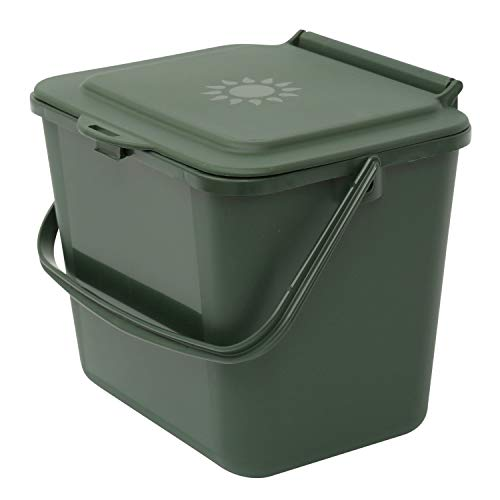 Green Kitchen Compost Caddy/Food Recycling Waste Bin - 5 Litre (5L)