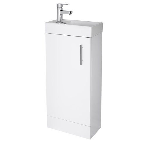 NUIE NVX192 Vault Modern Bathroom Single Soft Close Door Floor Standing Vanity Unit with 1 Tap Hole Ceramic Basin, 400mm, Gloss White, H: 781mm, W, D: 222mm, Set of 2 Pieces
