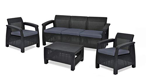 Keter Corfu Outdoor 5 Seater Rattan Sofa Furniture Set with Accent Table, Graphite with Grey