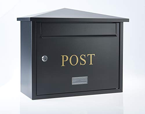Letter Catcher Large Letterbox - Black High Security Metal Wall Mounted Post Box For Outside Use Letter Box Is Weatherproof And Waterproof External Home Mail Box A4 Larger Letters Includes All Fixings