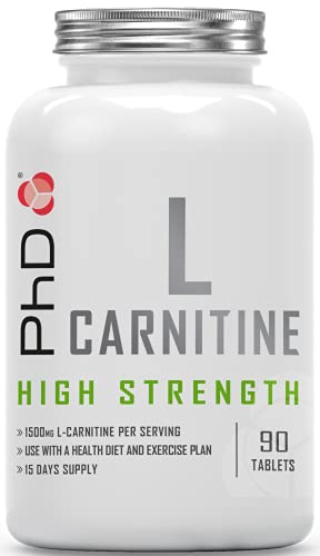 PhD Nutrition L-Carnitine 1500 mg/Serving Tablets | Naturally Occurring Amino Acid | Supports Fat Loss, Performance & Recovery | 90 Capsules (15 Days Supply)