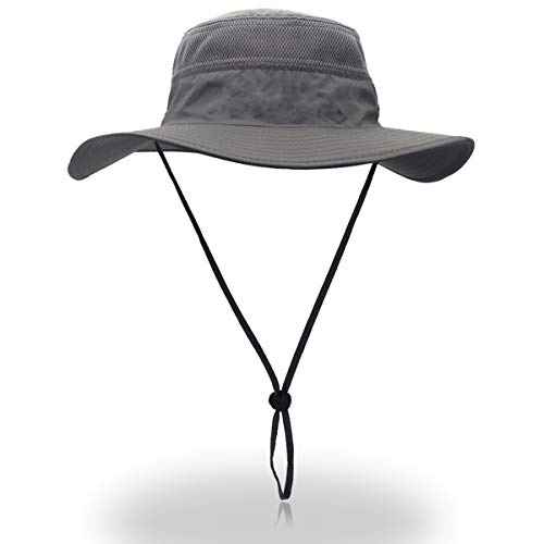 Outfly Wide Brim Sun Hat Mesh Bucket Hat Lightweight Bonnie Hat Perfect for Outdoor Activities, 55-62cm, Grey