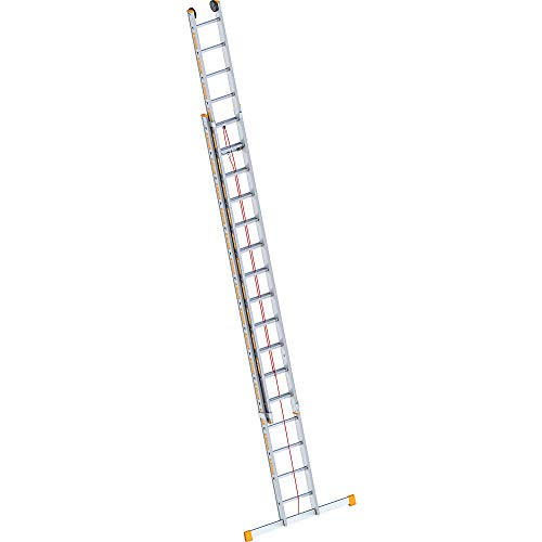 Layher 1037016Rope-Operated Ladder Two Section Extension Ladder 2x 16Rungs Aluminium Topic 8.20metres