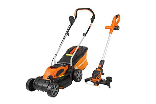 Yard Force 40V 32cm Cordless Lawnmower Plus Cordless Grass Trimmer with ONE Lithium-ion Battery & Quick Charger LM G32 + LT G30