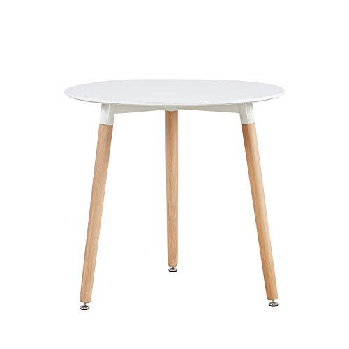IPOTIUS Small Round Dining Table Scandinavian Table for Dining Room Kitchen Cafe Restaurant, Beech Legs, 80x80x72cm White