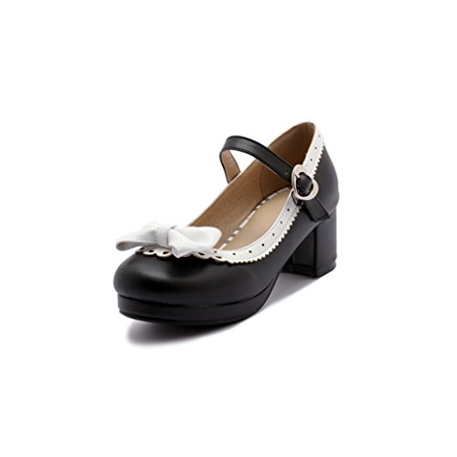 ELFY Women's Cute Lolita Cosplay Shoes Bow Mid Chunky Heel Mary Jane Pumps black Size: 6 UK