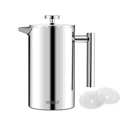 French Press Coffee Maker 0.35 Litre Small Coffee Maker Double-Walled Stainless Steel French Coffee Press with 2 Extra Sieves, Silver 350 ml (2 Cups)