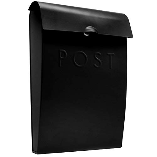 Wall Mounted Post Box   Glossy Finish Postbox   Galvanised Steel Outdoor Mailbox   Lockable Weatherproof Outside Postbox   Letterbox for Wall   M&W (Black)