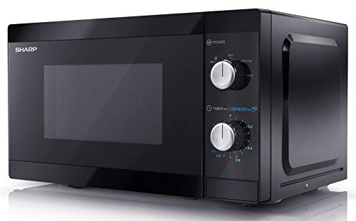 SHARP YC-MS01U-B 800W Solo Microwave Oven with 20L Capacity, 5 Power Levels & Defrost Function – Black