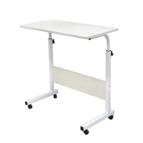 sogesfurniture Laptop Table Height Adjustable, Mobile Laptop Stand Coffee Table Side Table, portable Laptop Desk Tray for Sofa, Bed, Balcony, Garden, 60x40cm, White Maple 05#1-60MP-BH