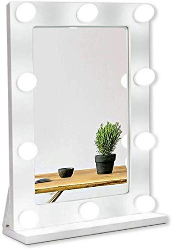 Waneway Hollywood Mirror with Lights for Dressing Table, Large Lighted Makeup Vanity Mirror, Big Light up Mirror with 10 Dimmable LED Bulbs, Tabletop or Wall Mount, Slim Wooden Frame, White