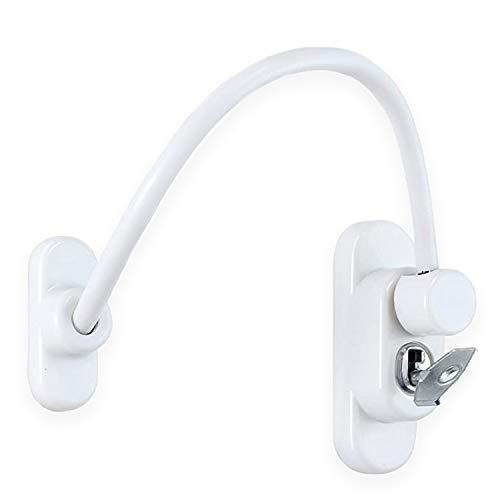 XFORT® White Lockable Window Restrictor With Key, 20cm Cable Length Restricts Windows To 100mm Opening To Prevent Injury Or Burglary, Durable Window Lock For Child Safety And Protection. Window Resctrictors (Window Cable Restrictor (1)