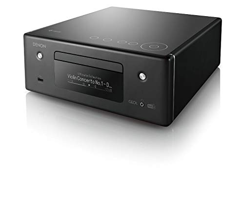 Denon compact stereo system, HiFi amplifier, CD player, music streaming, HEOS multi-room, Bluetooth, WLAN, AirPlay 2, Alexa compatible, 2 optical TV inputs, DAB+ radio