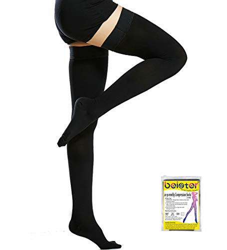 Beister Medical Closed Toe Thigh High Compression Stockings with Silicone Band for Women & Men, Firm 20-30 mmHg Graduated Support for Varicose Veins, Edema, Flight