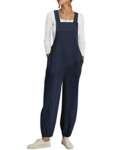 YOINS Women's Loose Overalls Baggy Strap Sleeveless Jumpsuit Casual Playsuit Trousers Long Pants Dungarees Navy M