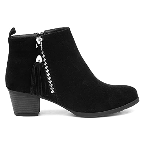 Lilley Womens Black Faux Suede Heeled Ankle Boot - Size 6 UK - Black