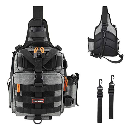 YVLEEN Fishing Tackle Backpack - Outdoor Large Fishing Tackle Storage Box Bag - Water-Resistant Fishing Backpack with Rod Holder Shoulder Backpack