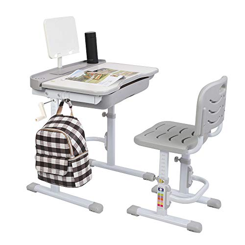 Bonnlo Children's Desk Chairs Sets Height Adjustable Student Table and Chair Multifunctional Kids Writing Desk and Chair for Kids (Grey)