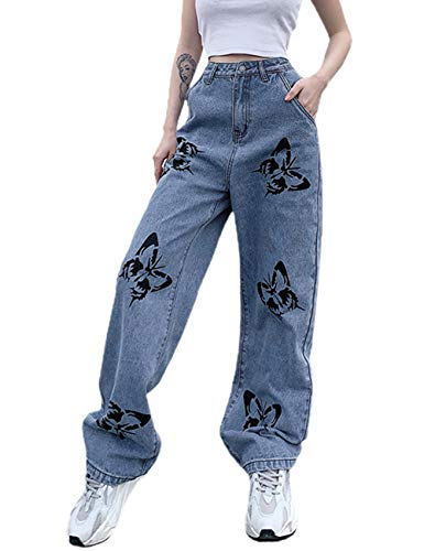 N / D Women's Casual Denim Pants High Waisted Wide Leg Jeans Butterfly Loose Baggy Trousers (Blue, M)