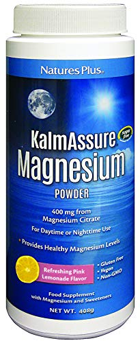 NaturesPlus KalmAssure Magnesium Powder - 420mg Natural Magnesium, Highly Bioavailable, Pink Lemonade Flavour - Energy and Relaxation for Mind and Body - Vegan, Gluten Free, Sugar Free - 60 Servings