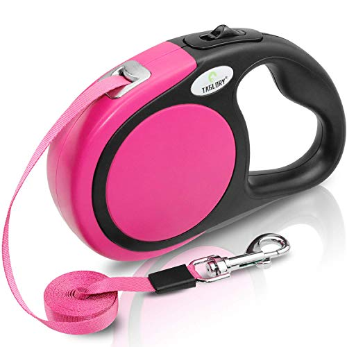 Taglory No-Tangle Retractable Dog Lead 5m,Heavy Duty Dogs Extendable Leads Strong Nylon Tape,Suitable for Girl Dogs Up to 20kg,Pink