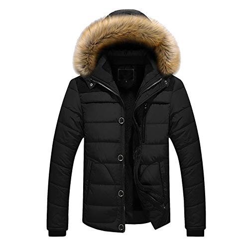 Janly Clearance Sale Men's Coats, Men Outdoor Warm Winter Thick Jacket Hooded Coat Jacket With Zipper Pocket, Faux Fur Down Jacket for Christmas (Black-3XL)