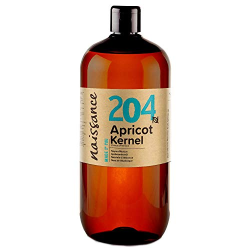 Naissance Apricot Kernel Oil (no. 204) 1 Litre - Pure, Natural, Vegan, No GMO - Ideal for Aromatherapy and as a Massage Base Oil - Moisturises & Conditions Hair & Skin