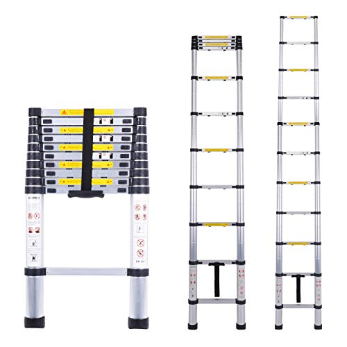 Acrohome 3.2M Telescopic Ladder Multi-Purpose Aluminium Telescoping Ladder Extension Extend Portable Ladder Foldable Ladder EN131 and CE Standards