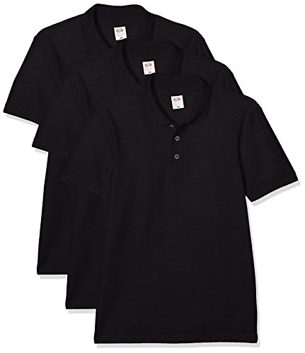 Fruit of the Loom Men's 65/35 Polo Shirt Pack of 3, Black, Large