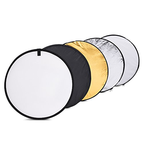 Andoer 24in/ 60cm 5 in 1 Collapsible Photography Multi Photo Disc, Gold, Silver, White, Black and Translucent Indoor Outdoor Portable Light Reflector