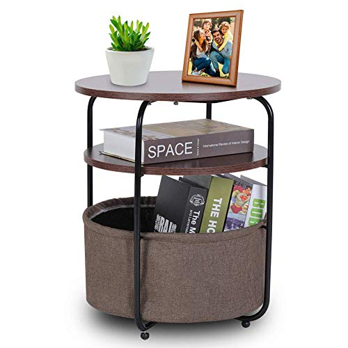 Small Round Table,Storage Basket Side Table, Round Coffee Side Nest of Table 3 Tiers Modern Night Stand Small Sofa End Bedside for Living Room Bedroom Brown Walnut (42 × 42 × 51 cm)