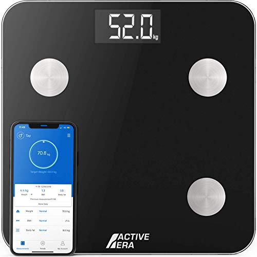 Active Era® Smart Body Fat Scales - Bluetooth Digital Bathroom Scales with 15 Essential Features - High Precision Body Weight, Body Mass Index (BMI), Visceral Fat - Free Smartphone App