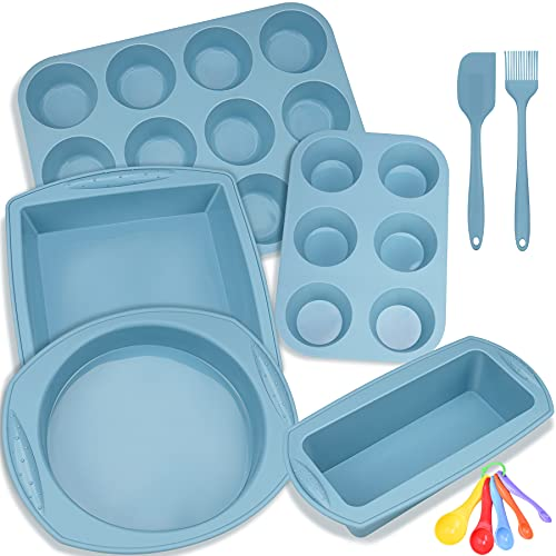 Aschef 5 Pieces Silicone Nonstick Baking Pan Bakeware Mold Tray Tools Set, BPA Free, Food Grade for Muffin Bread Loaf Cake Pan Sheet Set- Blue