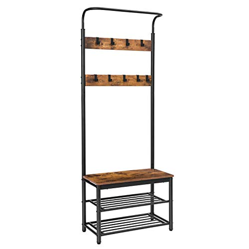 HOOBRO 187.5 cm High Coat Rack Stand, Hall Tree with 9 Removable Hooks, Shoe Rack Bench, Industrial Style, Multifunctional Hallway Shelf Stand, Sturdy and Stable Structure, Easy Assembly EBF12MT01
