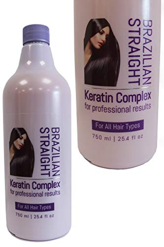 Brazilian Straight, Keratin Complex Treatment 750ml, Salon Bottle for Professional Results, Hair Straightening/Blow Dry/Blow Out