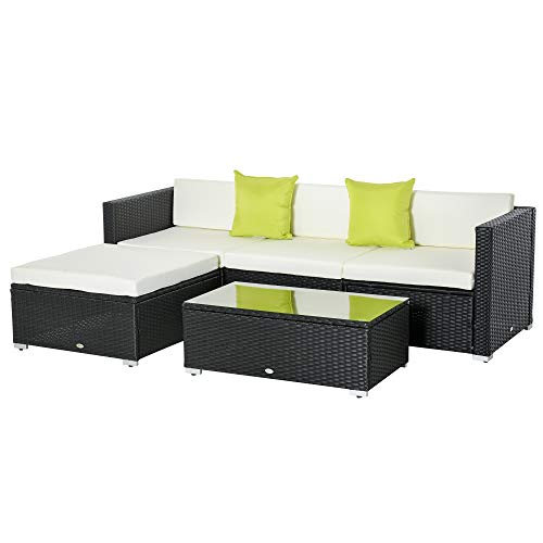 Outsunny 5PC Rattan Furniture Set Garden Outdoor Sectional Sofa Coffee Table Combo Patio Furniture Metal Frame w/Cushion Pillows Black