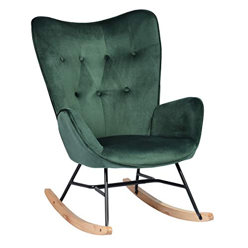 HOMYCASA Rocking Chair Rocker Relax Lounge Fabric Chair Nursing Chair Recliner Relaxing Chair Button Decor Linen with Padded Seat (Green)