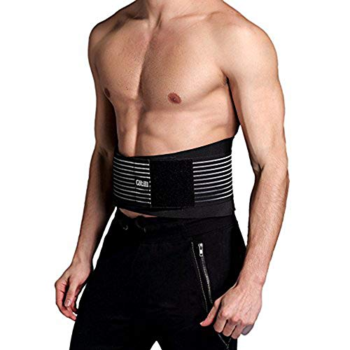 Cotill Lower Back Support Belt - Lumbar Support Brace for Pain Relief and Injury Prevention - Dual Adjustable Straps and Breathable Mesh Panels (L/XL - Waist 83cm to 109cm)