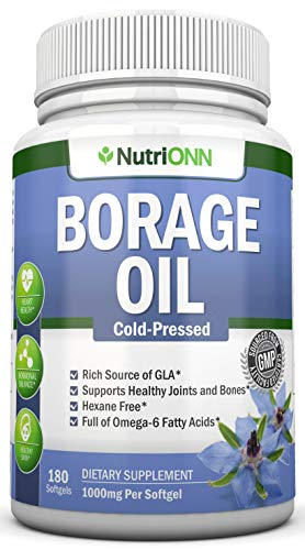 Starflower/Borage Oil - 1000 mg - 180 Softgels - Cold Pressed High GLA Borage Seed Oil - Hexane and PA Free - Great for Skin, Joints and Bones. Supports Healthy Hormonal Balance and Heart Health