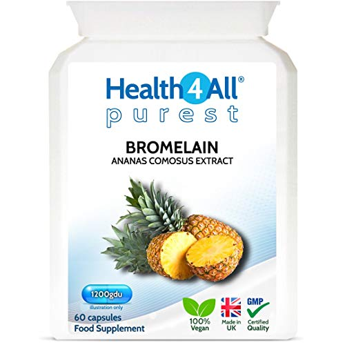 Bromelain 1200gdu 60 Capsules (V) . Purest- no additives. Vegan Capsules (not Tablets) for Inflammation, Swelling and Digestion. Made in The UK by Health4All