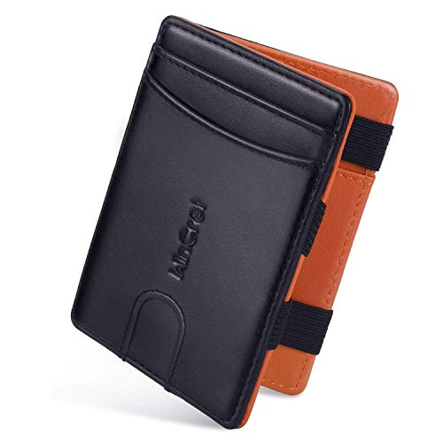 WinCret Slim Magic Wallet - Genuine Leather Puzzle Flip Cash Wallet Gift for Men - RFID Blocking Credit Card Holder & Money Purse with Coin Pocket and Key Chain Set