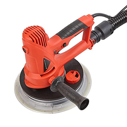 Trueshopping 700W Handheld Drywall Sander - Integrated Dust Extractor, Spring Loaded Flexible Sanding Pad Ideal for Uneven Surfaces, Variable Speed Levels, 6 Sanding Discs, Lightweight
