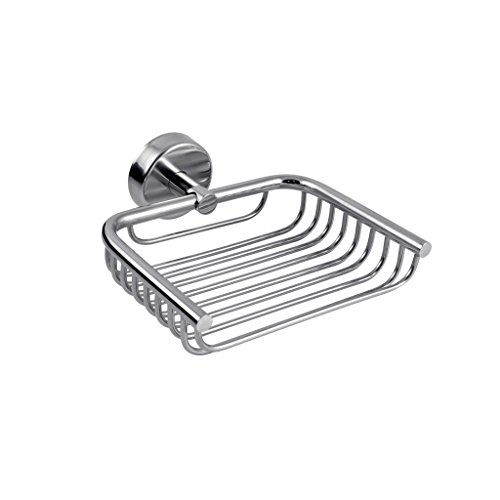 Kapitan Bathroom Soap Dish Holder with Drainage, Shower Stainless Steel Tray, Self-Adhesive or Screws Mounting, Polished Finish, Made in EU, 20 Years Warranty