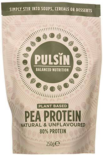 Pulsin Natural Unflavoured Plant Based Vegan Pea Protein Powder 250g (Gluten Free / Palm Oil Free / Dairy Free)