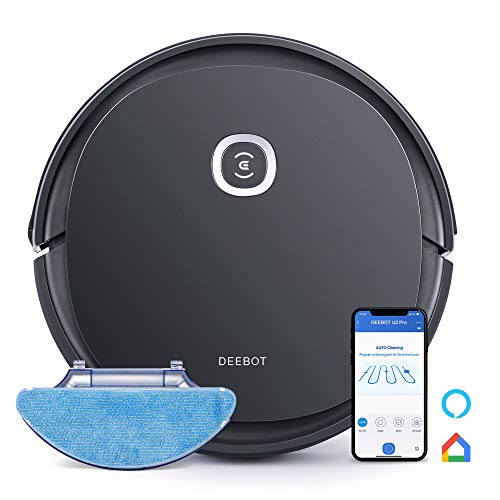 Ecovacs DEEBOT OZMO U2pro Robot Vacuum Cleaner Sweep&Mop 2in1 (150mins Runtime, Extra 800ml Large Dustbin &Tangle-Free Brush, Victual Boundary, OZMO™Mopping) for Pet Hair, Hard Floor (Black)