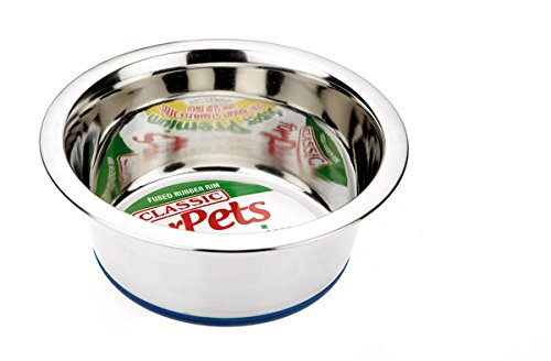 Classic Pet Products Non-Slip Stainless Steel Dish (900 ml - 170 mm, 6.5 inch Diameter Dog Bowl)