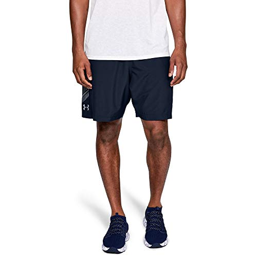 Under Armour Men's Woven Graphic Ultra-Light and Comfortable Jogger, Breathable and Durable Running Shorts, Academy/Steel, M