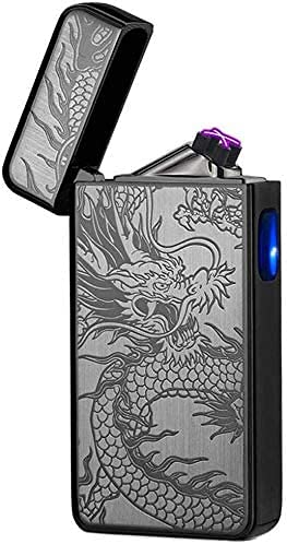 Lighter,Electric Lighter USB Rechargeable Dual Arc Plasma Lighter Electronic Windproof Lighter for Indoor&Outdoor,Camping,Fire,Candles(Black Dragon)